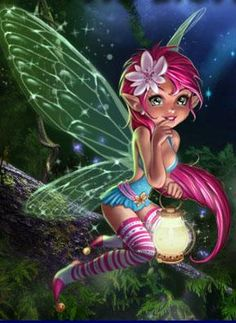 super cute pink haired faery