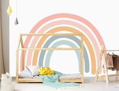 Cool 35 Awesome Kids Bedroom Wall Decorations Ideas That Will Make Fun Your Kids Room Rainbow Room Kids, Rainbow Bedroom, Rainbow Nursery, Wallpaper Rainbow, Kids Wall Murals, Nursery Wall Murals, Cool Kids Bedrooms, Kids Bedroom Paint, Room Wall Painting