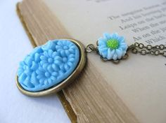 Vintage Flower Necklace Pendant Sky Blue by BumbershootDesigns