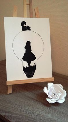Affiche Illustration Noir et blanc ampoule  alice aux