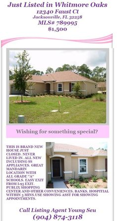 Just Listed New Rental in Mandarin: 12340 Faust Ct, Jacksonville, FL 32258. MLS# 789995 $1500 per month.  Brought to you by INI Realty Investments Inc., the first 100% Commission Real estate Office in Jacksonville, FL. www.100RealestateJax.com