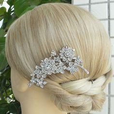 Vintage Rhinestone Wedding Hair Comb Bridal Hair by VanessaJewel