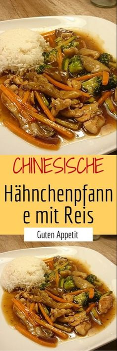 Chinesisches Huhn mit Reis Chinese chicken with rice Turkey Recipes, Meat Recipes, Asian Recipes, Mexican Food Recipes, Chicken Recipes, Ethnic Recipes, Healthy Eating Tips, Healthy Snacks, Chinese Chicken
