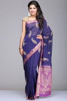Purplish Blue Village Cotton Saree With Beige Paisley Motifs And Purple & Gold Zari Border And Pallu