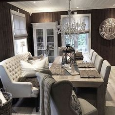 Personalize your home decoration with pretty digital printables. Dinning Room Tables, Dining Room Lighting, Dining Room Design, New England Homes, New Homes, Dere, Lounge Areas, Dream Decor, Shabby