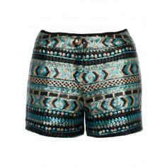 Aztec Shorts, Boho Shorts, Sequins, Blue, Women, Fashion, Moda, Fashion Styles, Fashion Illustrations