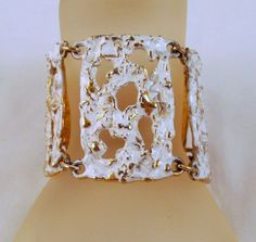 """Napier """"Molten Metal"""" White Enameled Bracelet Gold-tone"""