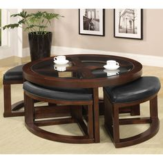 juniper mink brown wood round cocktail table and 4-piece stools