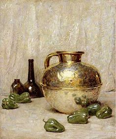 Beautiful Still Lifes by American Painter Soren Emil Carlsen (1853-1932), Still Life with Green Peppers and Jug