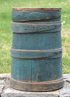 Firkin Original Blue Paint TALL Firkin w/Lid Rare Tall Blue Firkin Primitive  in Antiques, Primitives   $799