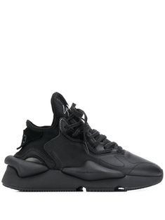 Leather And Nylon Kaiwa Sneakers In Black Y3 Sneakers, All Black Sneakers, Sneaker Boots, Suede Heels, Crazy Shoes, Sportswear Brand, Shoe Brands, Black Leather, Adidas