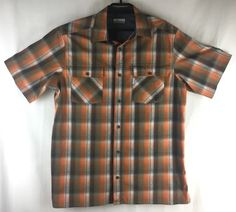 dfcff211 Columbia Mens Large Shirt Brown Orange Plaid Short Sleeve Button Front # Columbia #PlaidShirt Plaid