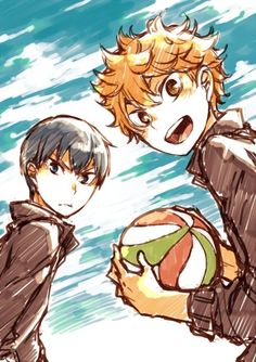 Haikyuu!! ~~ Sunny days and volleyball! :: Kageyama and Hinata by 箱雨 [pixiv]