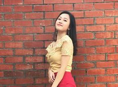 Myanmar Traditional Dress, Traditional Dresses, Beautiful Celebrities, Asian Beauty, Bicycle, High Neck Dress, Girls, Fashion, Dresses
