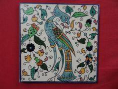 israel armenian IZNIK JERUSALEM KARAKASHIAN BROS vtg ceramic tile  HAND PAINTED