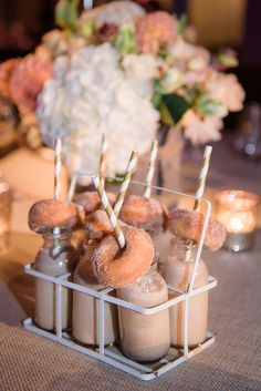 Delectable late night snacks - Mini alcoholic milkshakes & donuts for a rustic Jewish wedding in London. Planned & Styled by The Bijou Bride Food Wedding Favors, Wedding Snacks, Brunch Wedding, Wedding Menu, Wedding Blog, Wedding Bride, Wedding Foods, Wedding Hairs, Lesbian Wedding