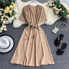 Spring V Neck High Waist Casual Bandage Summer Midi Dress - Cute Outfits Cute Dresses, Modest Dresses, Casual Dresses, Casual Outfits, Cute Outfits, Fashion Outfits, Dresses With Sleeves, Steampunk Fashion, Women's Dresses