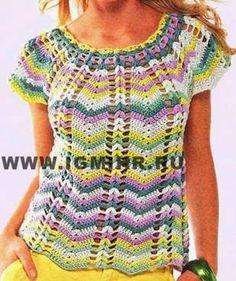 Crochet tesoro: camicia a righe nel modello d'onda
