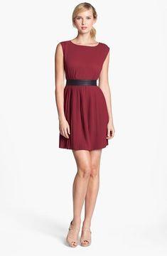 BB Dakota Faux Leather Trim Pleated Chiffon Dress (Online Only) on shopstyle.com