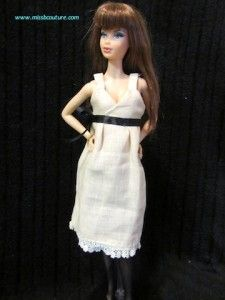 Barbie Linen and lace cocktail dress | Miss B. Couture