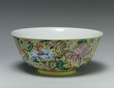 Bowl with imaginary composite flowers  Period:Qing dynasty (1644–1911), Daoguang mark and period (1821–50) Culture:China Medium:Porcelain painted with colored enamels over a transparent glaze (Jingdezhen ware) Dimensions:H. 3 1/4 in. (8.3 cm); Diam. 7 1/4 in. (18.4 cm)
