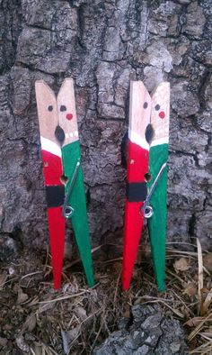 Mr & Mrs Santa Claus Kissing Clothespins by MCMoorephotography