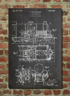 Train Locomotive Poster Train Locomotive Patent Train Locomotive Print Train Locomotive Art Train Blueprint Train Decor