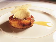 Baked Apple Tart with Hazelnut Biscuit and Ginger Ice Cream