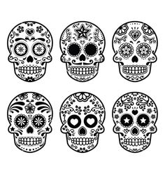 Mexican sugar skull dia de los muertos icons set vector  by RedKoala on VectorStock®