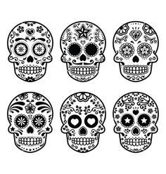 Mexican sugar skull dia de los muertos icons set vector  by RedKoala on VectorStock®