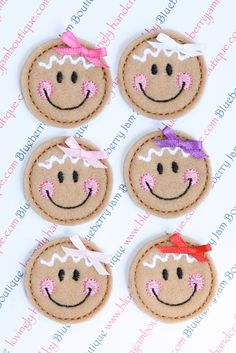 Embroidered Felt Gingerbread Girl Faces with Bows