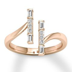 Diamond Ring ct tw Round/Baguette Rose Gold - 120684509 - Jared - August 17 2019 at Diamond Rings, Diamond Jewelry, Gold Jewelry, Jewelry Rings, Jewelry Accessories, Fine Jewelry, Jewelry Design, Halo Rings, Jewelry Sets