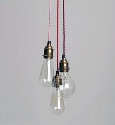 THREE STRAND CLUSTER PENDANT LIGHT Create a unique single or cluster light from a palate of colours to match your décor. Supplied with either one, three or five colours of your choice, each a meter in length with Edison screw bulb holder. Electrical Fixtures, Cluster Lights, Pendant Lights, Hall Lighting, Light Images, Kitchen Pendant Lighting, Light Architecture, Do It Yourself Home