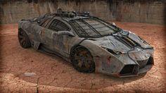 Lamborghini Reventon Custom Nuclear Edition by Vladimir Petkovic, via Behance Custom Lamborghini, Automobile, Petkovic, Death Race, Mad Max, Sweet Cars, My Ride, Amazing Cars, Courses