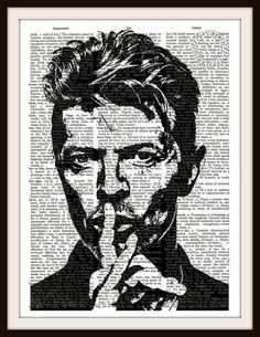 David Bowie Silhouette -Vintage Dictionary Art Print--Fits 8x10