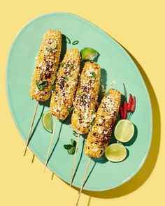 credits: photo- jenna gang, food styling- joanna keohane, prop styling- rebecca crea description: conceptual still life food photograph of grilled corn on a bright blue plate. Thai Recipes, Vegetarian Recipes, Prop Styling, Food Photography Styling, Creative Food, Food Design, Food Plating, Food Inspiration, Clean Eating