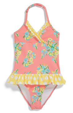Tucker + Tate Ruffle One-Piece Swimsuit (Toddler Girls, Little Girls & Big Girls) available at #Nordstrom