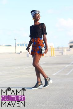 "New #blogpost on www.MiamiCultureMaven.com ""Misi Afrique"" Feranmi Shorts featured during #AnkaraMiamiFashionWeek with head wrap tutorial by Erika Everett"
