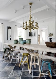 distressed mixed stools @Hazel Dircksen you may want to follow my good friend @Liz Lipkin, she is a great interior designer & expert home design problem solver!