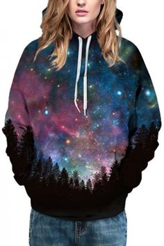 Popular Hooded Galaxy in Forest 3D Print Long Sleeve Couple Hoodie