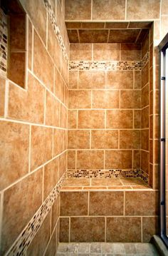 builtin shower seat with customized tile