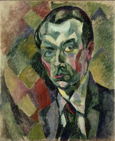 Robert Delaunay, 1909, Autoportrait, Self-portrait, oil on canvas, 73 x 59.4 cm, 28 3-4 x 23.3-8, MNAM, Pompidou Paris - Proto-Cubism - Wikipedia, the free encyclopedia