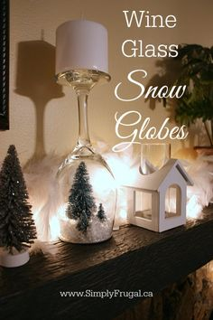 Create some easy to make wine glass snow globes using items from the dollar store!