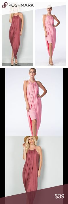 GORGEOUS LAYERED TULIP DRESS WITH HIDDEN SKIRT GORGEOUS LAYERED TULIP DRESS WITH HIDDEN SKIRT Spaghetti Straps Hi-Lo Head Turner! Available in Marsala & Powder Pink (lighter pink)  Sizes S, M, L Rayon/Spandex  NO TRADES Pics of the back coming soon! Peach Couture Dresses Maxi