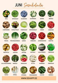 Saisonkalender Juni: Übersicht über regionale Obst-, Gemüse- und Salatsorten im Juni inklusive 10 passender veganer Rezeptideen!  #vegan #veganerezepte #saisonkalender #saisonkalenderjuni #veganesmittagessen #veganesabendessen #gesunderezepte #veganeernährung #saisonal #regional #vollwertig #vollwertigeernährung #gesundeernährung Vegetable Chart, Clean Eating, Healthy Eating, Natural Yogurt, Eat Seasonal, Eat Smart, Lose Weight Naturally, Food Humor, Nutritional Supplements