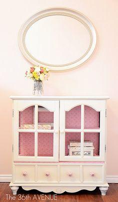 Furniture redo.  Love the pattern inside.