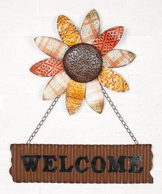 Take a look at this Flower Welcome Sign by Backyard Oasis: Autumn Accents on @zulily today!