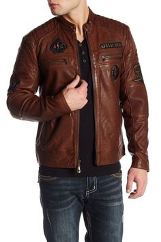 NWT Affliction Fatal Hour Mens Genuine LEATHER Patch Brown Jacket X-LARGE $595