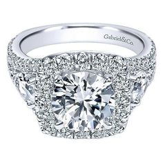 18K White Gold Split Shank Halo Diamond Engagement Ring with Pear Shaped Sides