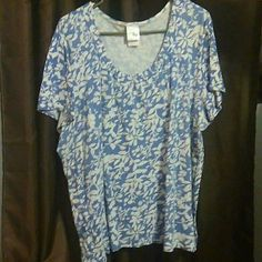 Short sleeve shirt White with blue flowers, short sleeve JMS shirt. Such a pretty spring shirt! Gently used, with a lot of life left in it. Tops Tees - Short Sleeve